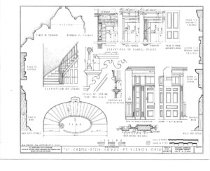 Blueprint of curtis devein house stairs elevation featuring newel posts, balusters, and panel molds on side of stairs.