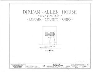 Blueprint cover page by the American Building Survey describing the Dirlam Allen House erection date, address, and architect information.