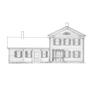 Line art of Dirlam Allen House featuring covered porch with columns, windows casings with shutters, and door mouldings with panel molds.