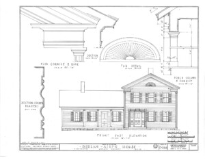 Blueprint of Dirlam Allen House front east elevation featuring windows with shutters, covered porch with columns, and doorway mouldings.