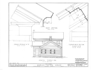 Blueprint of Dirlam Allen House south elevation featuring steps to entrance, door mouldings, and windows with shutters.