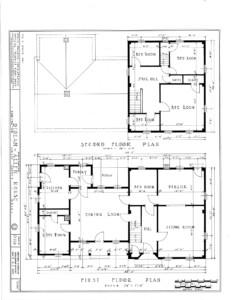 Blueprint of Dirlam Allen House first floor plan, and second floor plan.
