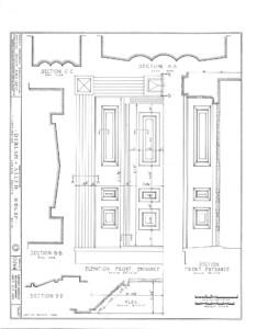 Blueprint of Dirlam Allen House door casing mouldings with panel molds.