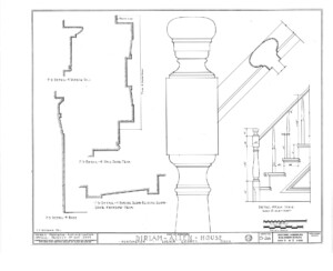 Blueprint of Dirlam Allen House newel post with newel post cap and balusters.