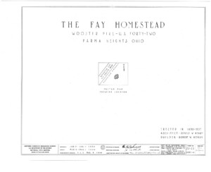 Blueprint cover page by the American Building Survey describing the Fay Homestead house erection date, address, and architect information.