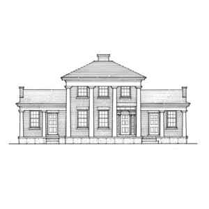 Line art of Fay Homestead House featuring large pillars with a covered front porch, three main entrances, and center of house towers over sides.