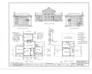 Blueprint of Fay Homestead house north elevation, west elevation, and east elevation.