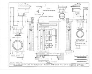 Blueprint of Fay Homestead house main cornice elevation.