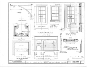Blueprint of Fay Homestead house kitchen fireplace elevation featuring plinth casing, and dining room window casing mouldings.