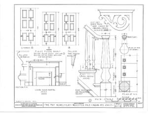 Blueprint of Fay Homestead house first floor doors elevation.