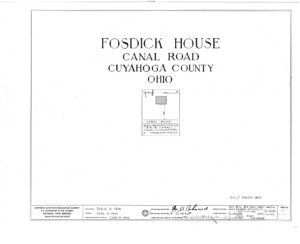 Blueprint cover page by the American Building Survey describing the Fosdick house erection date, address, and architect information.