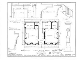 Blueprint of Fosdick house first floor plan.
