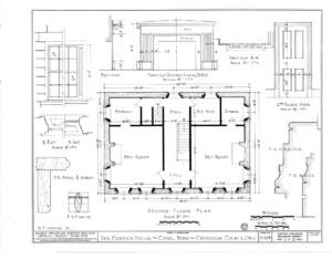 Blueprint of Fosdick house second floor plan.