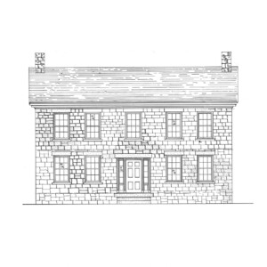 Line art of Fosdick house featuring all brick walls, window casing mouldings, steps to entrance, door mouldings, and two chimneys.