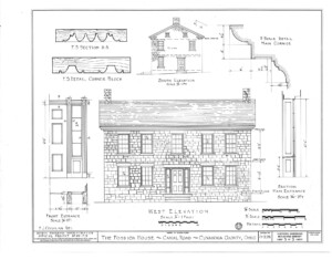 Blueprint of Fosdick house west elevation featuring door panel molds, column details, and cornice mouldings.