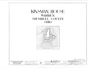 Blueprint cover page by the American Building Survey describing the Frederick Kinsman House erection date, address, and architect information.
