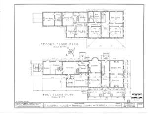 Blueprint of Frederick Kinsman House first floor plan, and second floor plan.