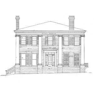 Line art of Frederick Kinsman House featuring tall windows with shutters, covered front porch with columns, side steps, and door mouldings.