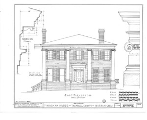 Blueprint of Frederick Kinsman House east elevation featuring tall windows with shutters, covered front porch with columns, side steps, and door mouldings.