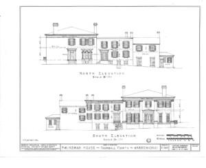 Blueprint of Frederick Kinsman House south elevation showing back of building.
