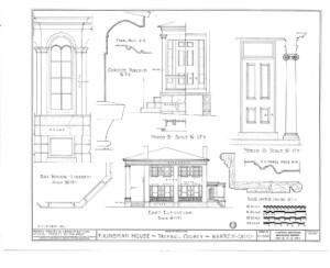 Blueprint of Frederick Kinsman House east elevation featuring cornice mouldings, and all stone fireplace mantel.