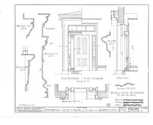 Blueprint of Frederick Kinsman main entrance details showcasing door mouldings.