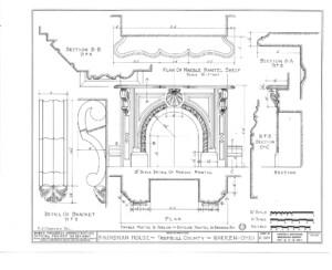 Blueprint of Frederick Kinsman House fireplace mantel and marble mantel shelf.