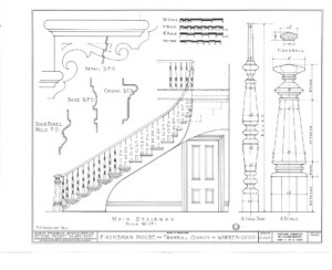 Blueprint of Frederick Kinsman House main stairway elevation featuring balusters, newel post with cap, and beautiful design patterns.