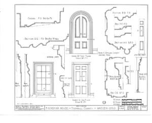 Blueprint of Frederick Kinsman House doorway mouldings.