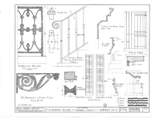 Blueprint of Frederick Kinsman House main stairway elevation featuring balusters, and beautiful design patterns.