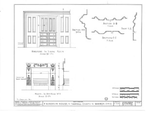 Blueprint of Frederick Kinsman House wardrobe in dining room, and in bedroom.