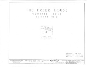Blueprint cover page by the American Building Survey describing the Freer house erection date, address, and architect information.