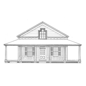 Line art of Freer house featuring different geometrically shaped windows, windows with shutters, wrap around covered porch, and door panel molds.