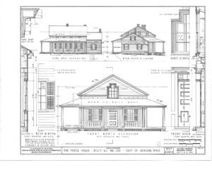 Blueprint of Freer house north elevation, rear south elevation, and side west elevation.