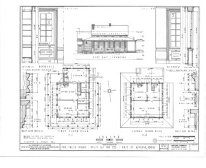 Blueprint of Freer house side east elevation featuring the Freer house first floor plan, and second floor plan.
