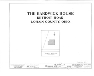 Blueprint cover page by the American Building Survey describing the Hardwick House erection date, address, and architect information.