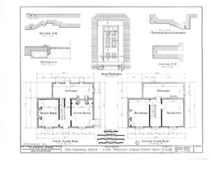 Blueprint of Hardwick House main door entrance featuring door panel molds, first floor plan, and second floor plan.
