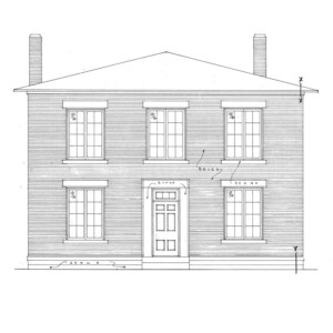 Line art of Hardwick House featuring double windows, all brick exterior, stone foundation, and front doorway with door panel molds.