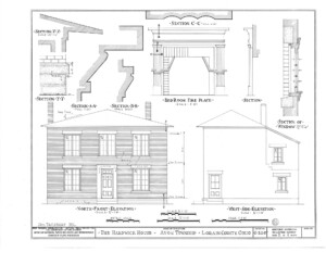Blueprint of Hardwick House north front elevation, west side elevation, and bedroom fireplace featuring mantel mouldings.