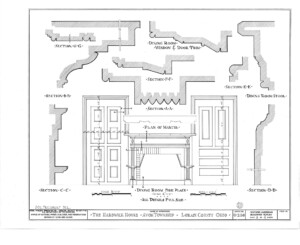 Blueprint of Hardwick House dining room fireplace featuring fireplace mantel mouldings, and wall panel molds.