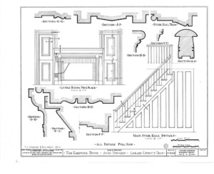 Blueprint of Hardwick House main stair hall and living room fireplace featuring mantel molds, balusters, newel post, and stair wall panel molds.