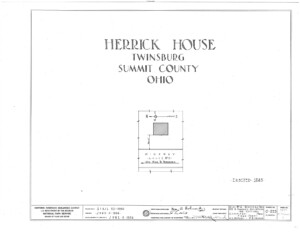 Blueprint cover page by the American Building Survey describing the Herrick House erection date, address, and architect information.