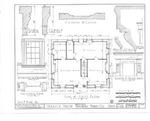 Blueprint of Herrick House first floor plan featuring window casing moulding.