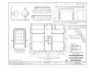 Blueprint of Herrick House second floor plan featuring window casing moulding.