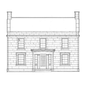 Line art of Herrick House showcasing brick walls, covered steps to entrance, and door mouldings featuring panel molds, and column detail.