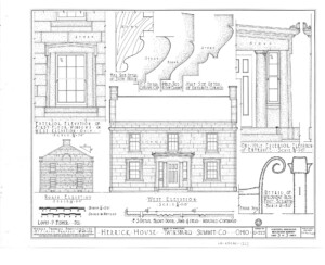 Blueprint of Herrick House west elevation and north elevation featuring column and cornice mouldings.