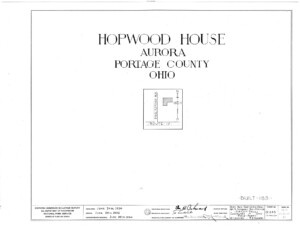 Blueprint cover page by the American Building Survey describing the Hopwood House erection date, address, and architect information.