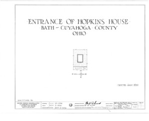 Blueprint cover page by the American Building Survey describing the Hopkins House erection date, address, and architect information.