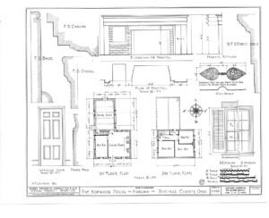 Blueprint of Hopwood House first floor plan, second floor plan, elevation of mantel, and elevation of common interior door.