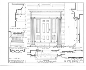 Hopkins House entrance elevation featuring doorway with window casing, panel molds, column detail, and cornice mouldings.